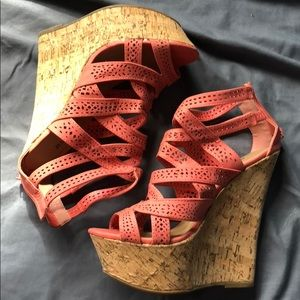 Just Fab, Coral color wedges, size 9, brand new